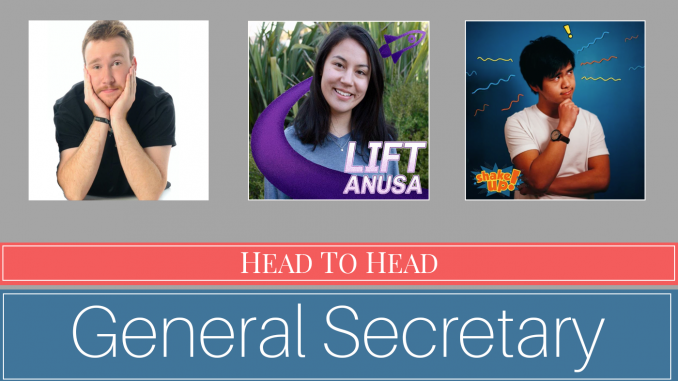"""Portraits of Maclean, Lim and Fu, with """"Head to Head General Secretary"""" underneath"""