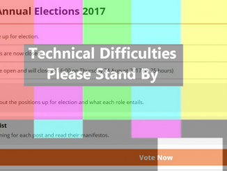 """A picture of the voting screen with """"technical difficulties"""" over the top"""