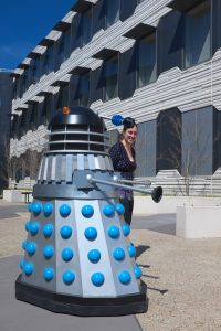 A Dalek being led around