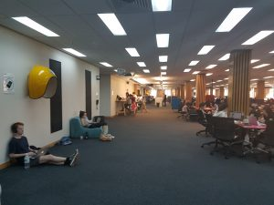 Students thronged in Chifley at 5PM yesterday.