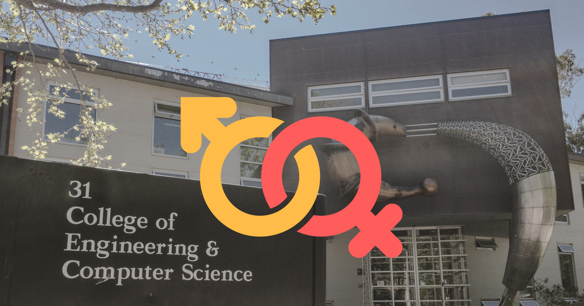 A picture of a CECS building with gender symbols in front