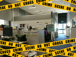 An image of the ANUSA Offices with cartoon police tape