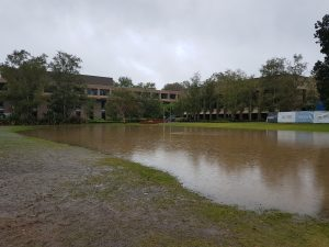 A large pool of water on the area outside Melville Hall.