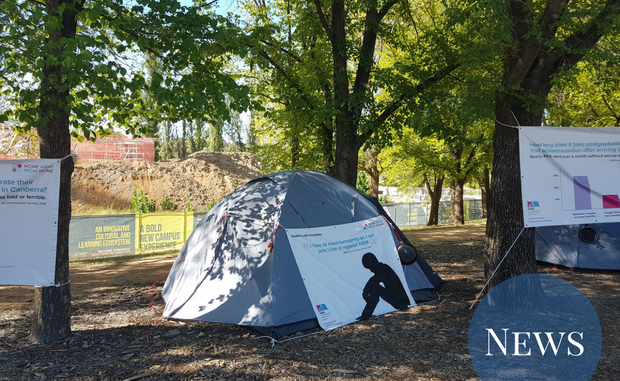 A tent set up on campus, advertising the PARSA campaign