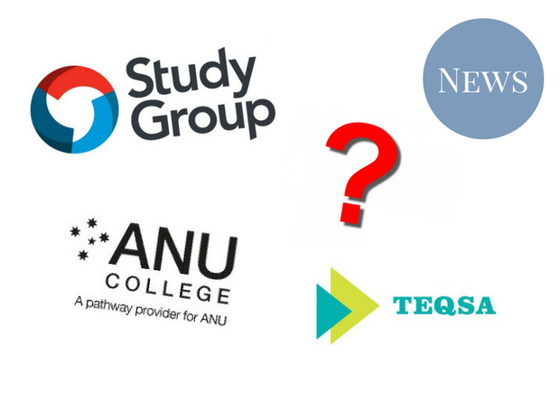 A graphic featuring the logos for Study Group Australia, ANU College, and the TEQSA, and a question mark