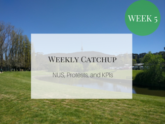 Weekly Catchup graphic, with text 'NUS, protests, and KPIs'