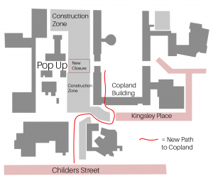 Map of the new pathway with access through kingsley place