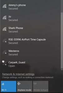 A lift of available wifi networks