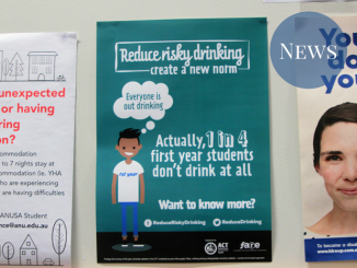 "A picture of a poster, with text ""Actually, 1 in 4 first years don't drink at all"""