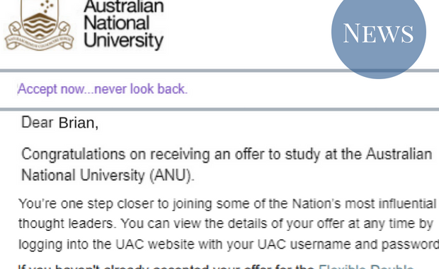 Photograph of UAC acceptance letter