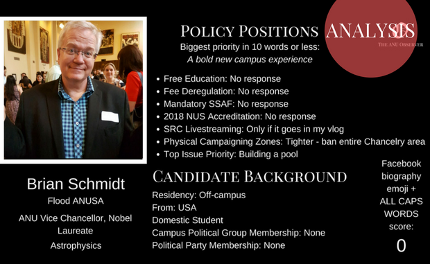 A mock bio of Brian Schmidt as a candidate