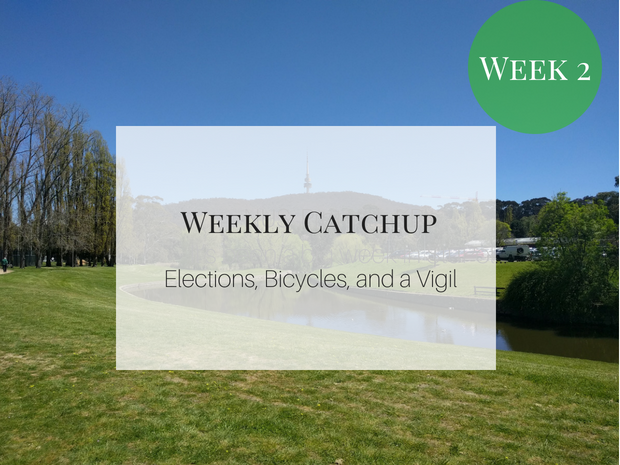 Weekly catchup graphic with text 'Elections, Bicycles, and a Vigil'
