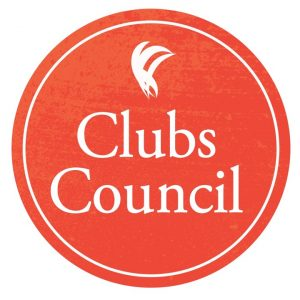 "A burnt orange circle, with the words ""clubs council"" and the ANUSA logo inset in white"