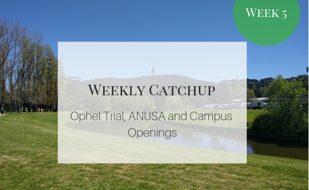 "Weekly Catchup Graphic, with caption ""Ophel Trial, ANUSA, and Campus Openings"""