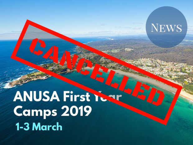 "Cover Photo for First Year Camps overlaid with ""cancelled"" graphic"