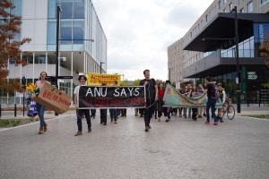 The ANU contingent walked from Kambri to Garema Place.
