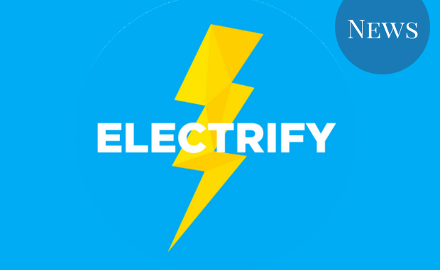 Image of the Electrify logo, a lightning bolt on a blue background