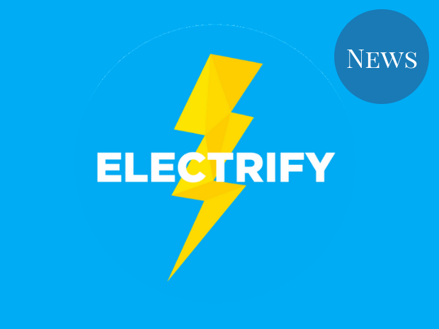 Image of the Electrify logo, a lightning bolt on a blue background