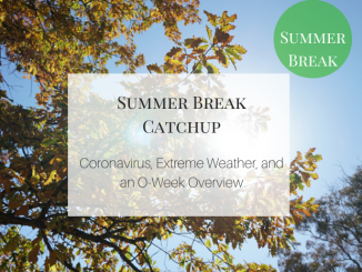 Weekly catchup graphic with text 'coronavirus., extreme weather, and an O-Week Overview'